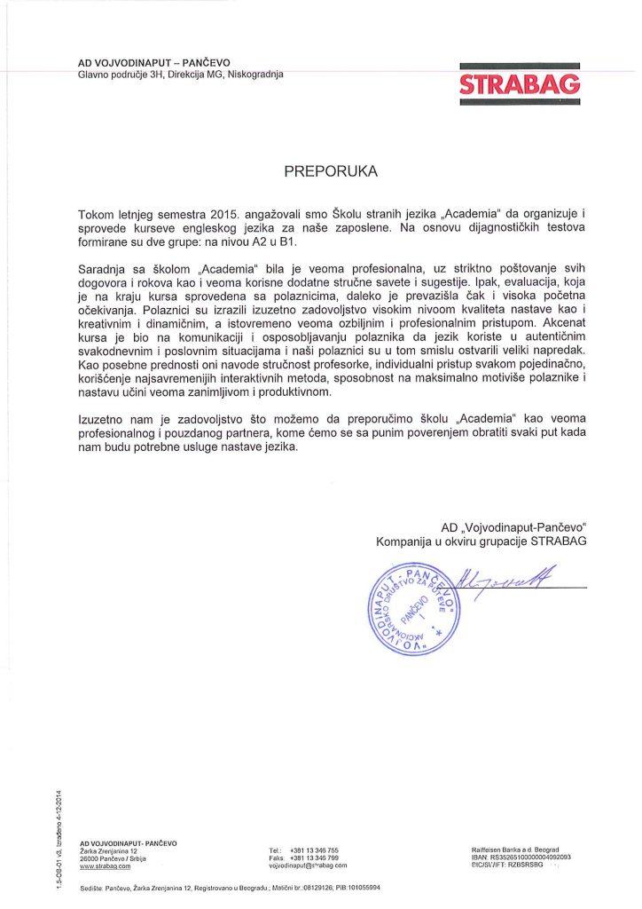 Austrijska kompanija STRABAG preporučuje Academiju